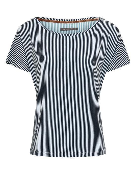 ESSENZA Ellen Striped Indigo blauw Top korte mouw XS
