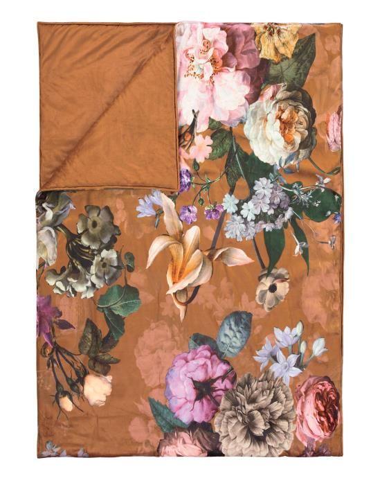 ESSENZA Fleur Leather brown Sprei 270 x 265 cm
