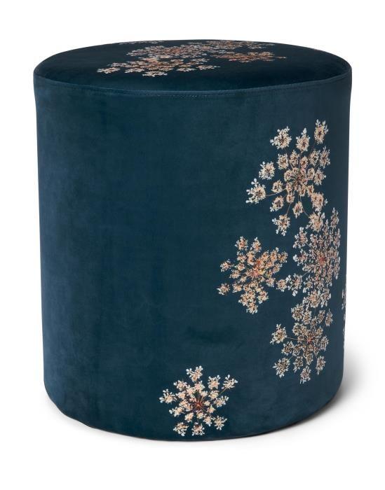 ESSENZA Lauren Indigo blauw Poef 40 x 40 x 43 cm