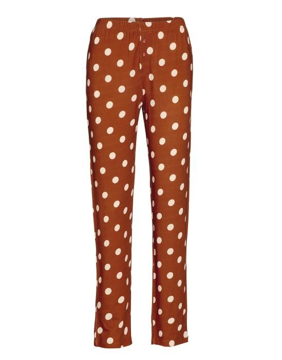 ESSENZA Lindsey Dot Leather brown Lange broek XS