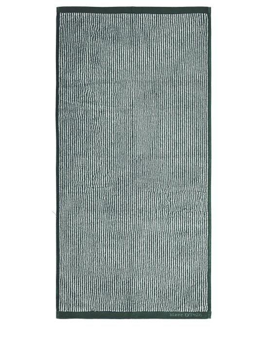 Marc O'Polo Timeless Tone Stripe Pine green/off white Handdoek 50 x 100 cm