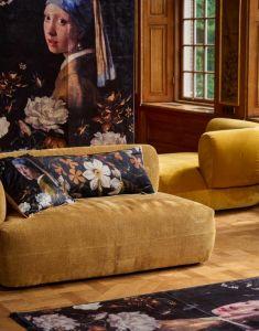 ESSENZA Daffodils Reunited Zwart Sierkussen 40 x 90 cm