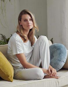 ESSENZA Lindsey Striped Ijsblauw Lange broek M