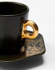 ESSENZA Masterpiece Donkergroen Espresso kop & schotel 9 cl