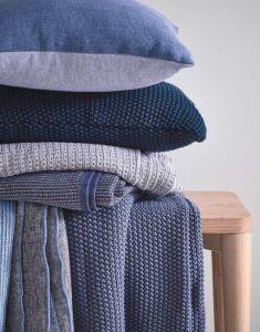Marc O'Polo Nordic knit Indigo blauw Sierkussen 50 x 50 cm