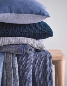 Marc O'Polo Nordic knit Indigo Blue Dekokissen 30 x 60 cm