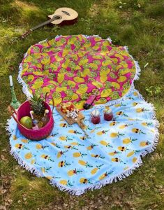 Covers & Co Pineapple Aqua Strandhandtuch 150 cm rond