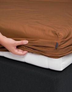 ESSENZA Premium Percale Leather Brown Spannbettlaken 80 x 200 cm