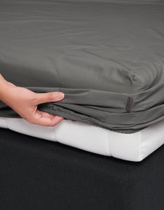 ESSENZA Premium Percale Steel Grey Spannbettlaken 140 x 200 cm