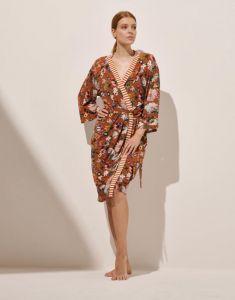 ESSENZA Sarai Filou Leather Brown Kimono L