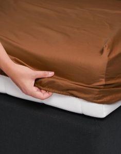 ESSENZA Satin Leather Brown Spannbettlaken 140 x 200 cm