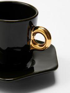 ESSENZA Sculpture Donkergroen Espresso kop & schotel 9 cl