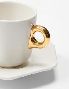 ESSENZA Sculpture Off white Espresso kop & schotel 9 cl
