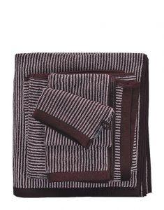 Marc O'Polo Timeless Tone Stripe Aubergine / Lavendel mist Gastendoek 30 x 50 cm