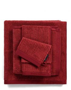 Marc O'Polo Timeless Tone Stripe Deep Rose / Warm Red Handtuch 70 x 140 cm