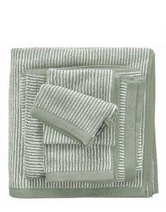 Marc O'Polo Timeless Tone Stripe Grün / Off White Handtuch 50 x 100 cm