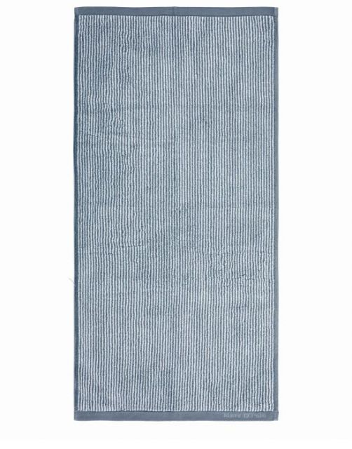 Marc O'Polo Timeless Tone Stripe Smoke Blue / Off White Handtuch 50 x 100 cm