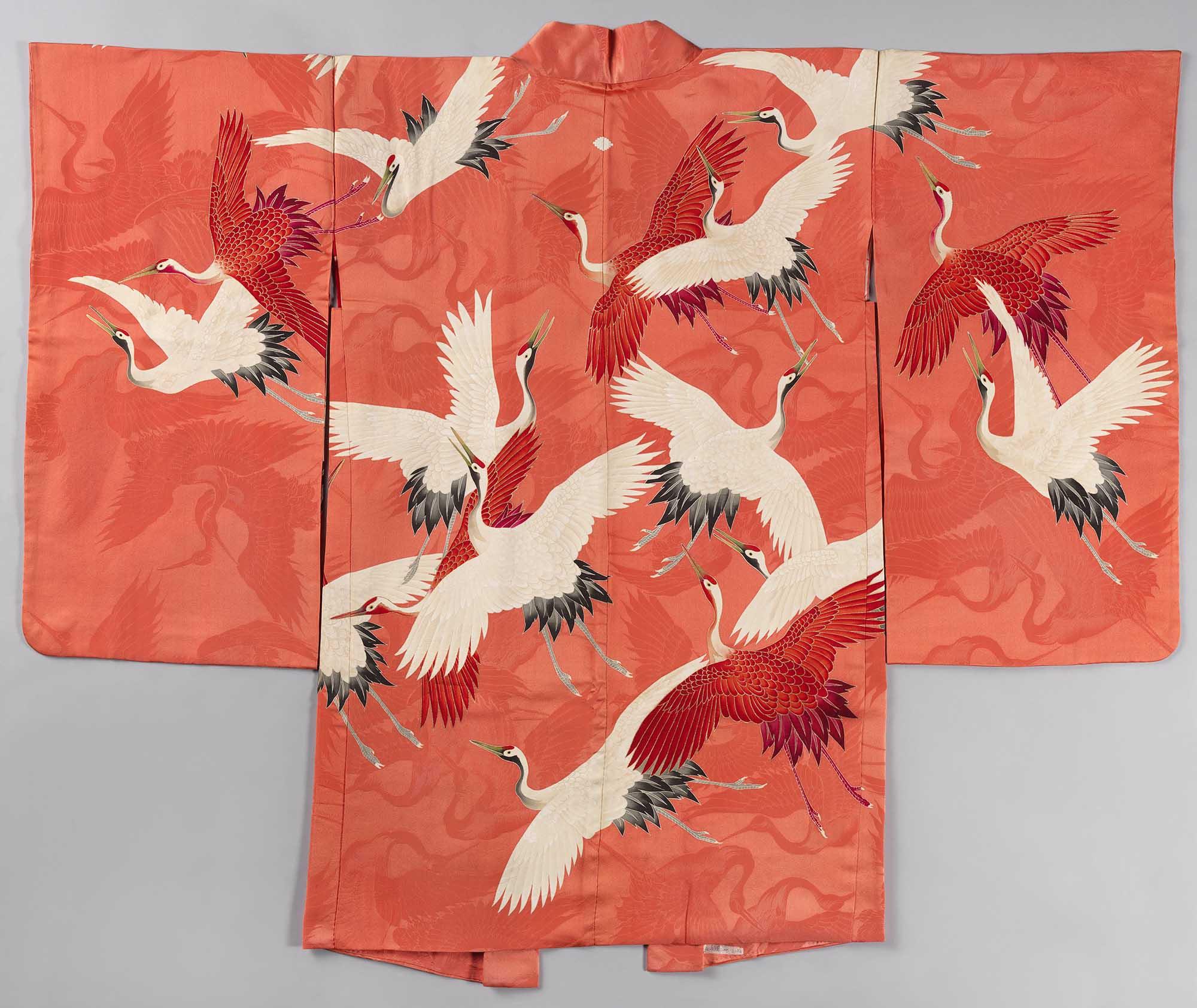 Vrouwen haori met witte en rode kraanvogels, anoniem, 1920 - 1940